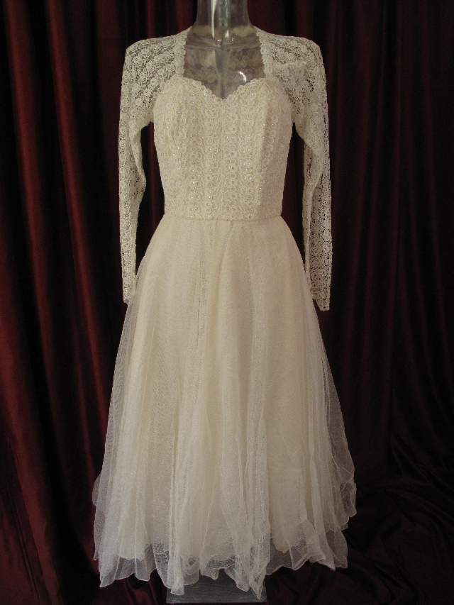 1950s Ballerina Length Sequinned Lace And Tulle Vintage Wedding Gown